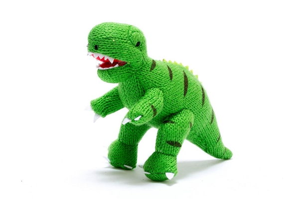 Knitted Dinosaur Rattle | Green T-Rex